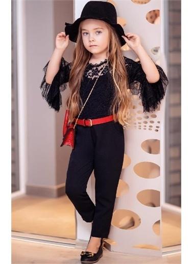 Riccotarz Kız Çocuk Elegante Güpürlü Siyah Tulum Siyah